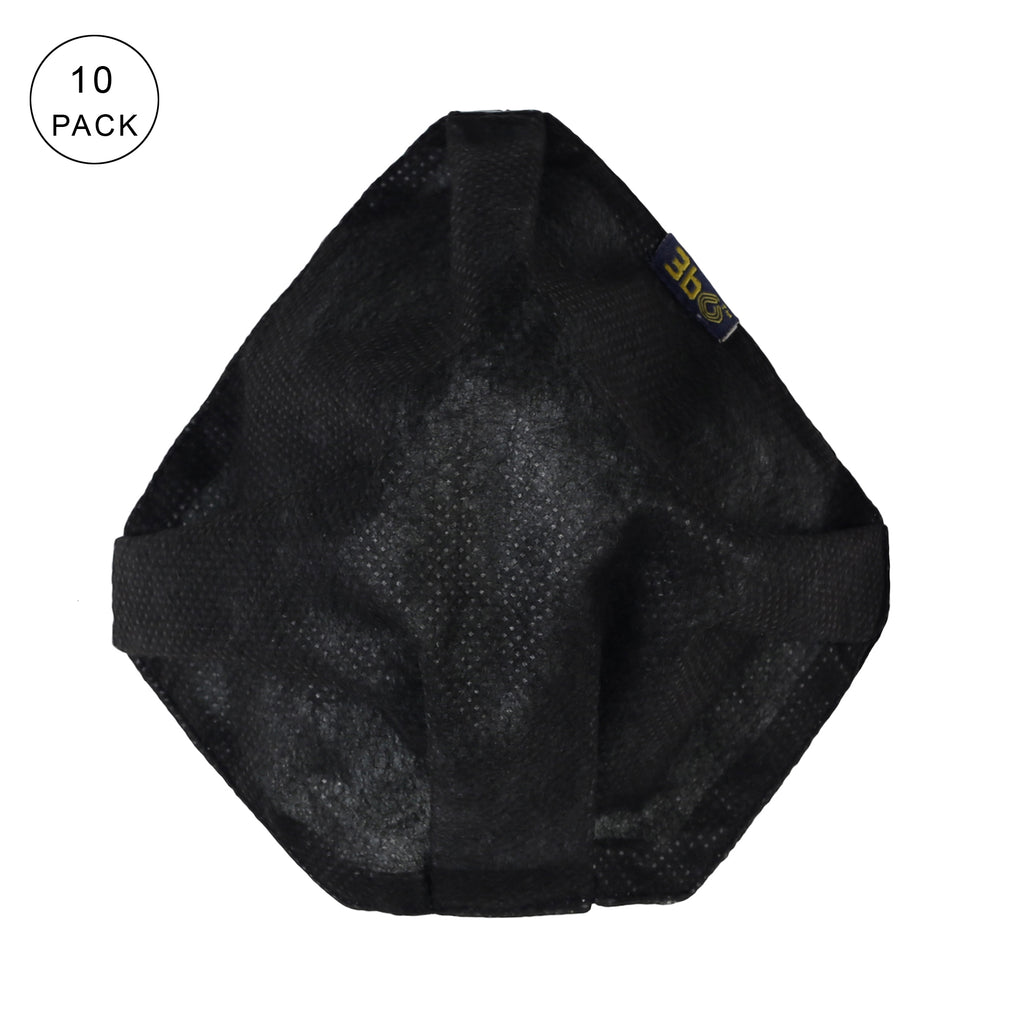 3bO Deltoid Air face reusable masks in Black - Pack of 10 - Size L