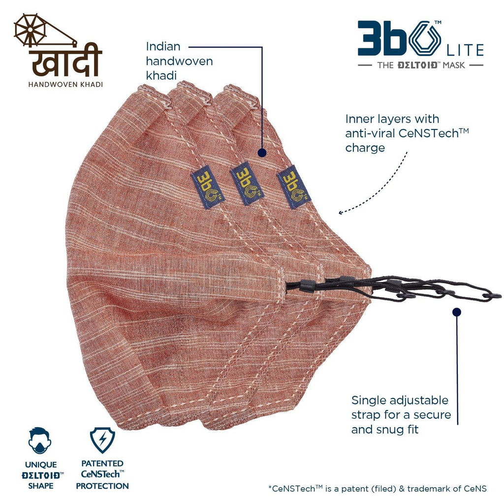 3bO Deltoid Lite  face mask in Khadi Brown fabric  - Pack of 3