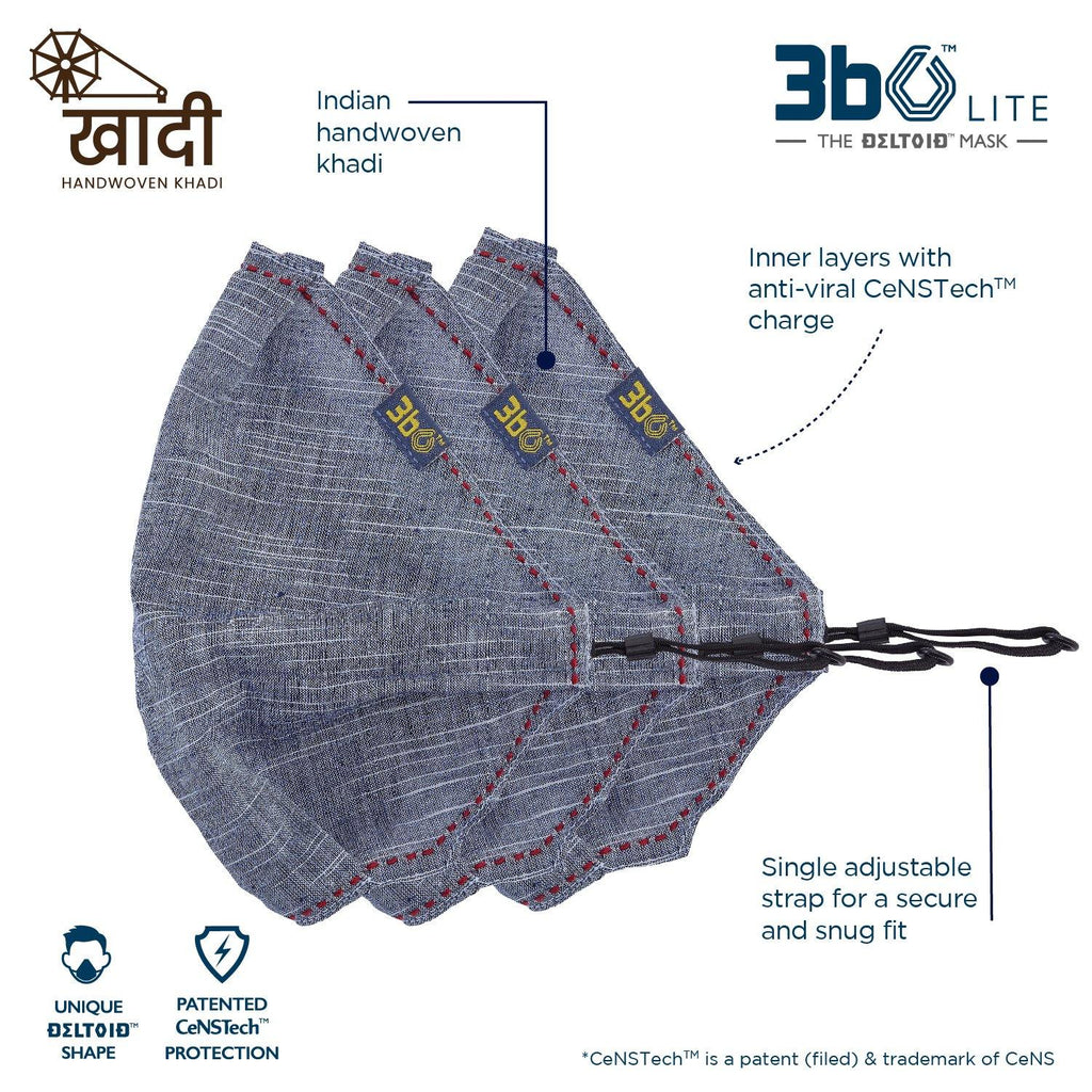 3bO Deltoid Lite  face mask in Khadi Navy fabric  - Pack of 3