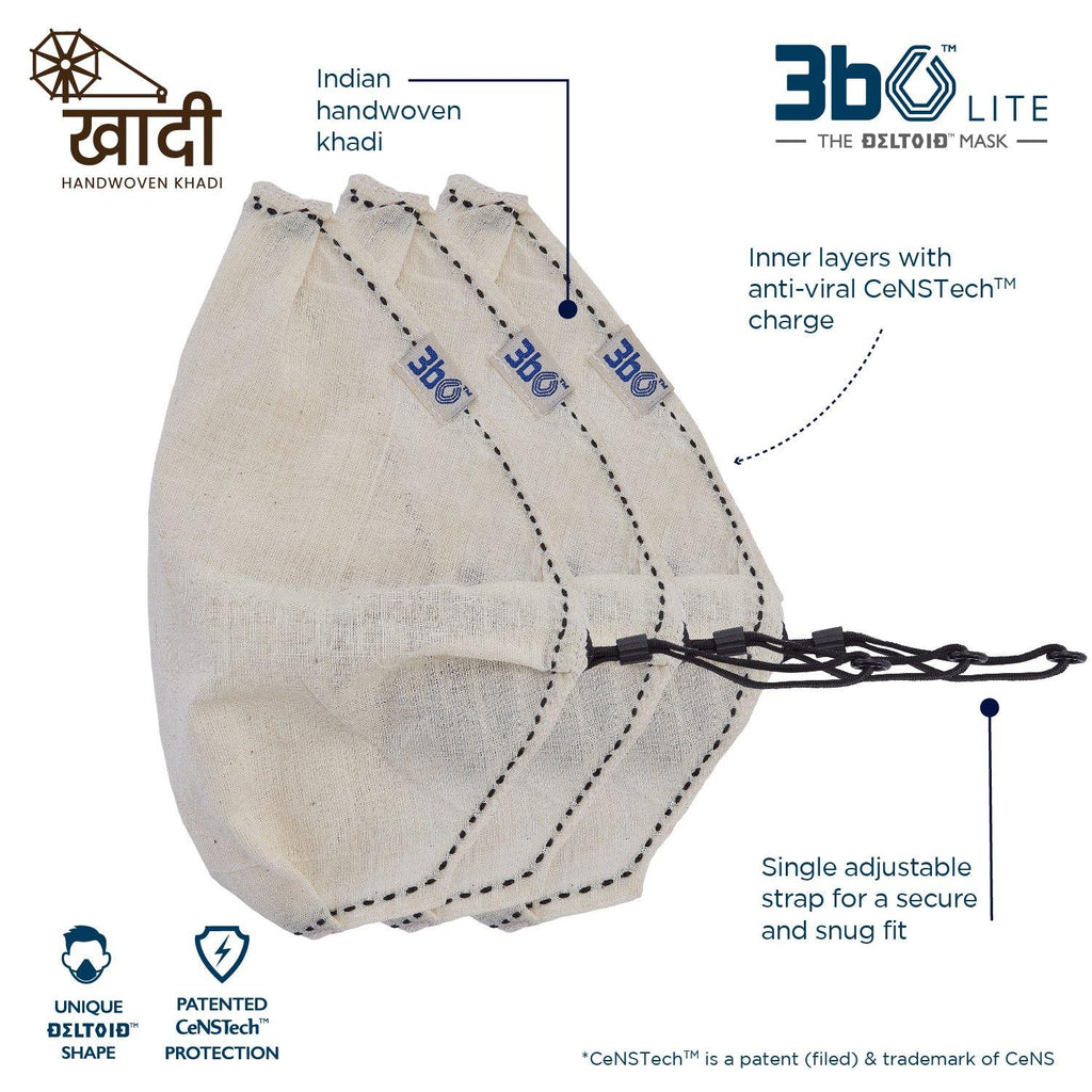 3bO Deltoid Lite  face mask in Khadi Offwhite fabric  - Pack of 3