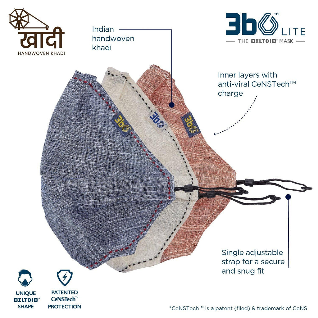 3bO Deltoid Lite  face mask in Khadi Brown,Navy & off white  fabric  - Pack of 3(assorted)