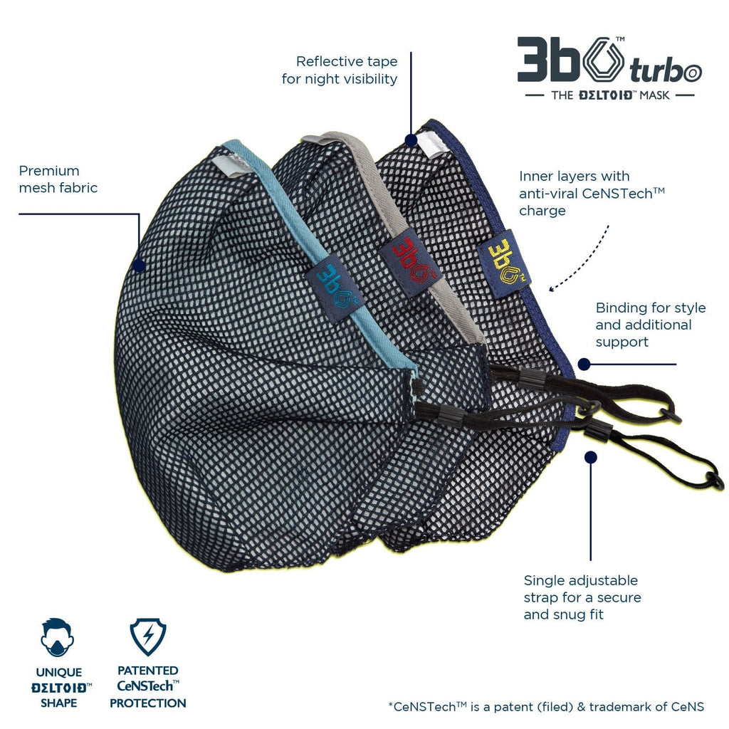 3bO Deltoid Turbo face masks in Navy mesh with Blue, Grey & Navy bindings - Pack of 3 (assorted)