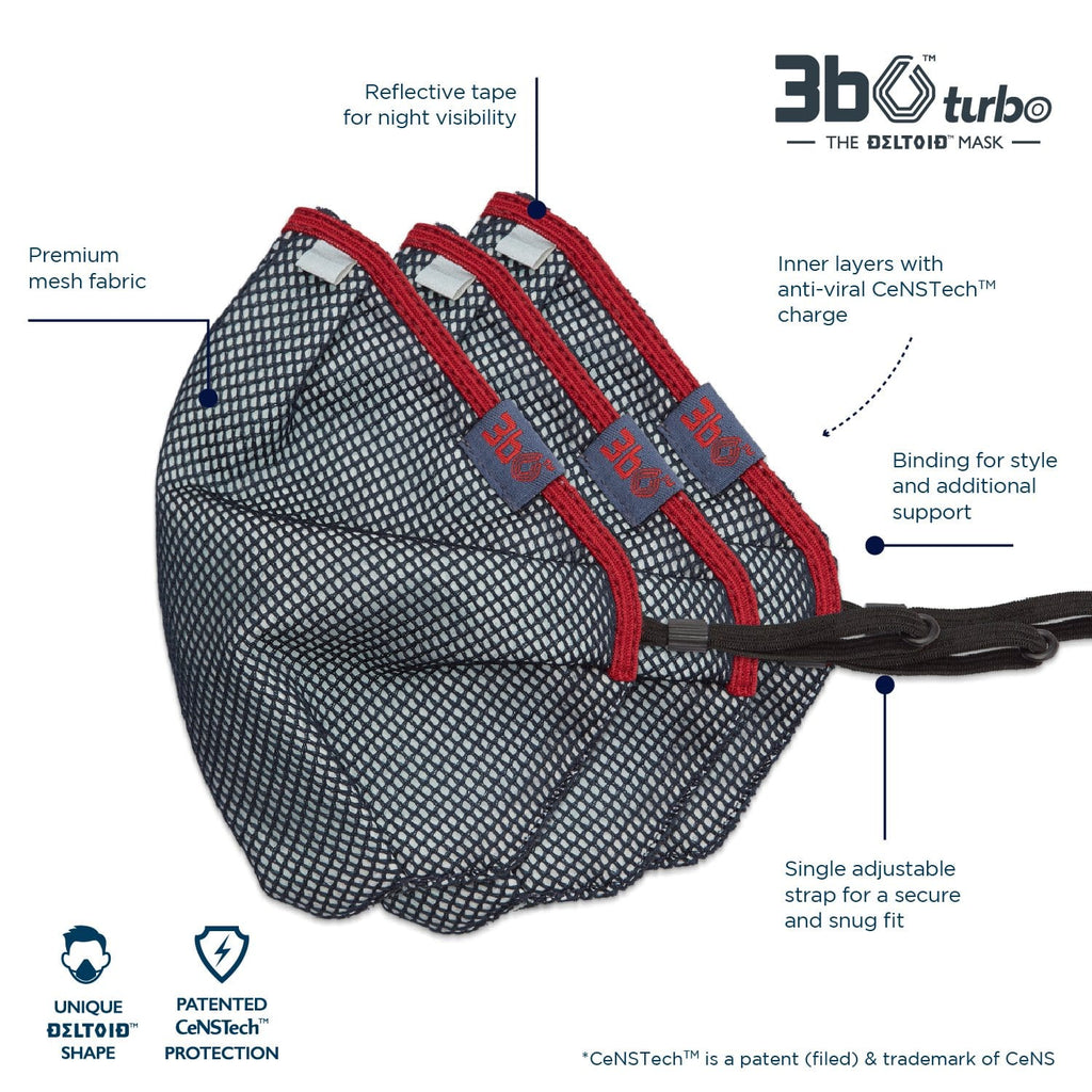 3bO Deltoid Turbo face masks in Navy mesh with Maroon binding - Pack of 3