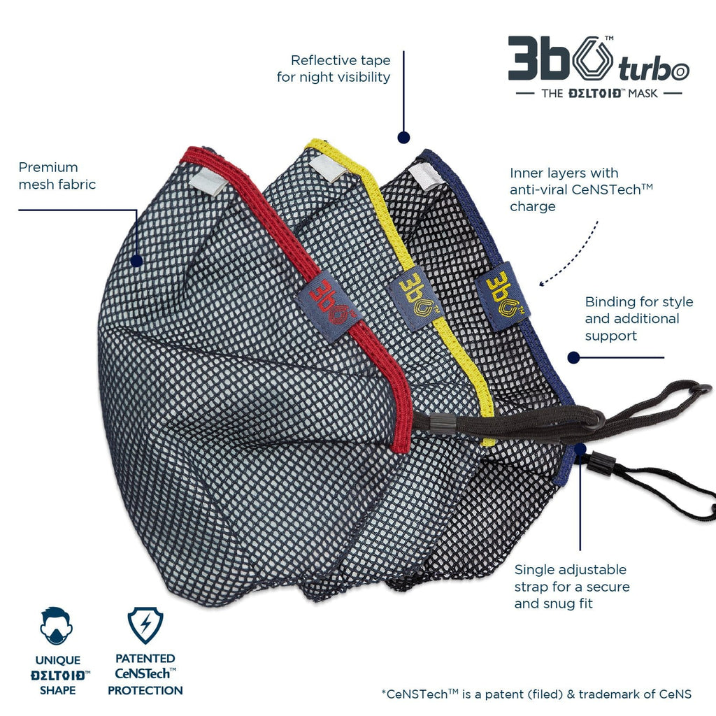 3bO Deltoid Turbo face masks in Navy mesh with Maroon, Yellow & Navy bindings - Pack of 3 (assorted)