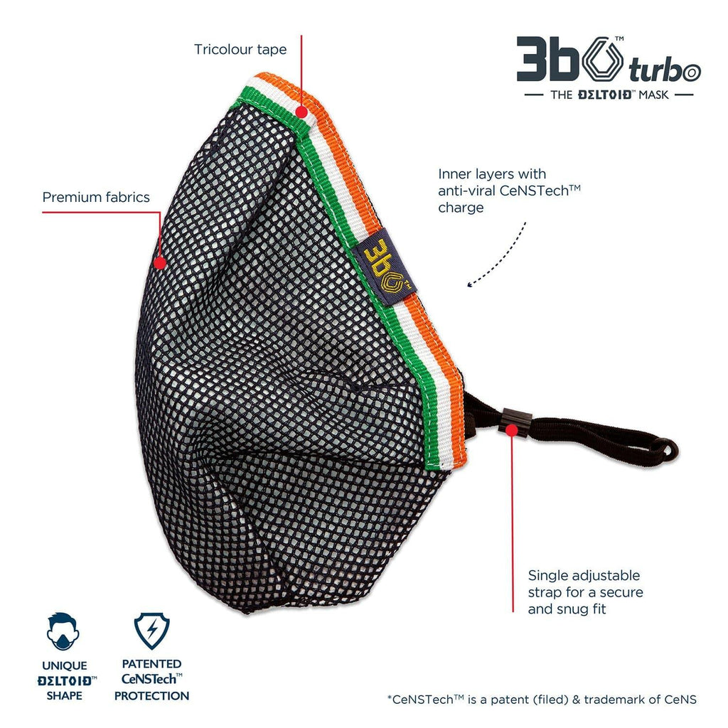3bO Deltoid Turbo face mask in Navy mesh with Tricolour binding - Pack of 1