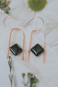 Black Onyx Hammered Arch Earrings