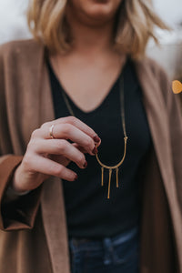 Lines Necklace in Brass