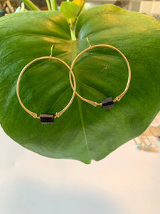 Hammered Tourmaline Hoop Earrings