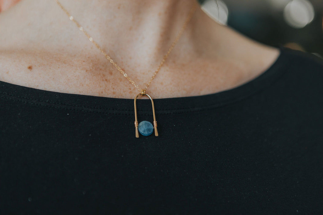 Hammered Kyanite Arch Necklace