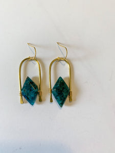 Hammered Ocean Jasper Earrings/ Apatite Earrings