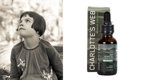 Charlotte Figi with Charlotte's Web CBD tincture used for seizures and epilepsy.