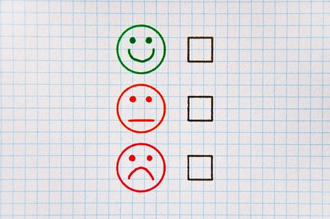 Check box with happy and upset options to select.