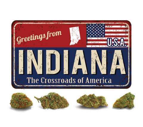 Indiana crossroads of America with cannabis buds.