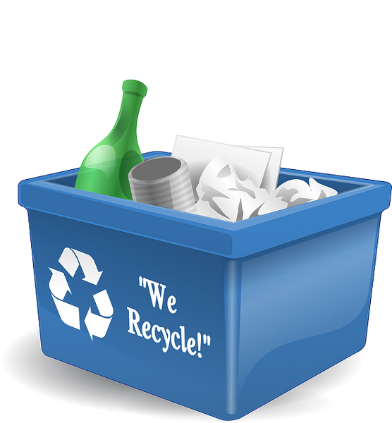 A blue recycling bin filled with paper and a glass bottle.