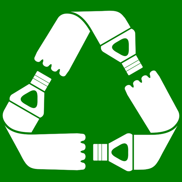 The universal symbol for recycle but with plastic water bottles.