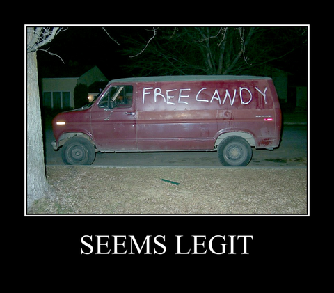 Van with free candy written on it.