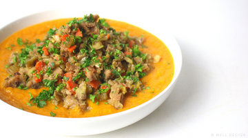 Roasted Sweet Potato Cornbread Chestnut Stuffing Soup