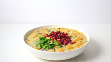 Spicy Thai Pomegranate Sweet Potato Edamame Soup