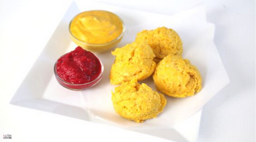 Pumpkin Drop Biscuits with Pumpkin Cheese Sauce and Cranberry Jelly