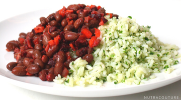 CAJUN RED BEANS WITH PICKLED VEGGIES AND PARSLEY RICE