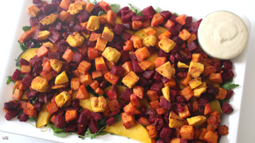 Roasted Root Vegetable Salad with Caramalized Sweet Onion Dressing and Pumpkin Croutons