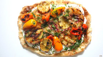Grilled Peaches and Bell Pepper Pizza with Balsamic Glaze