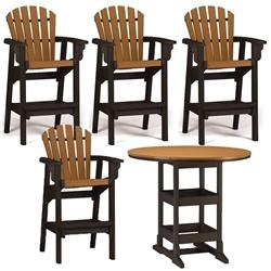 Bar Height  5 Piece Set - 48 inch Round Table & 4 Coastal Bar Chairs