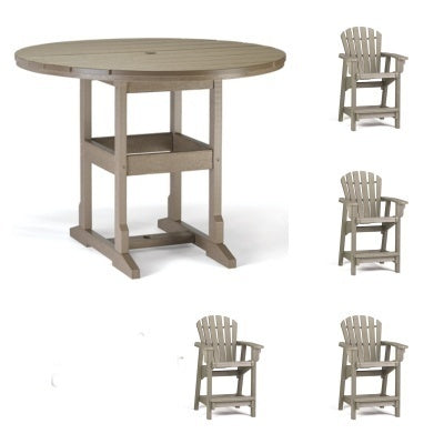 Counter Height  5 Piece Set - 48 inch Round Table & 4 Coastal Counter Chairs