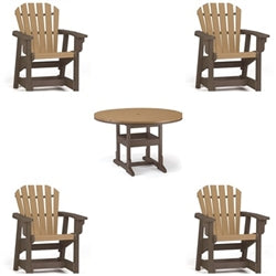 Dining Height  5 Piece Set - 48 inch Round Table & 4 Coastal Dining