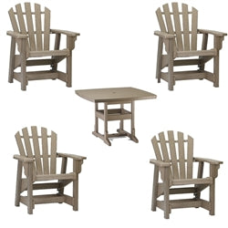 Dining Height  5 Piece Set - 42 inch Square Table & 4 Coastal Dining