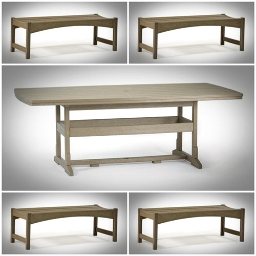 5 Piece Picnic Set - 42 inch by 84 inch Table & (4) 36 inch Skyline Backless Benches