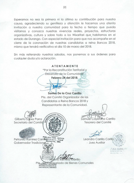 Official letter of thanks from various traditional Huichol authorities to Marakame - Arte Huichol for their contribution to various development programs