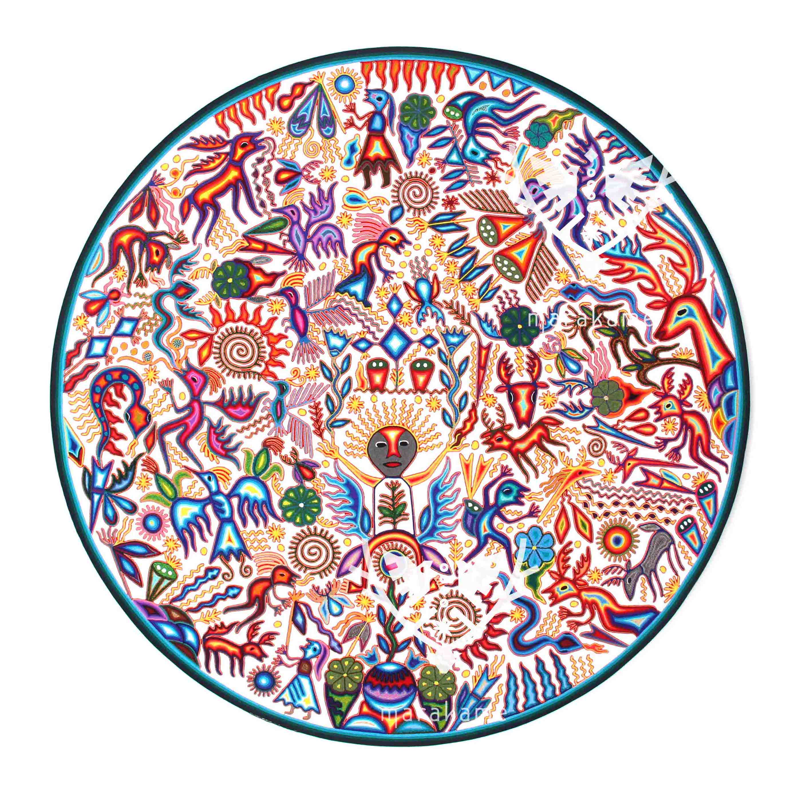 Huichol yarn nierika in a 120 cm wooden circle. diameter with white background