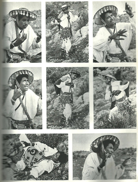 Marakame, Huichol shaman, acting a traditional story, are 8 black and white photographs.
