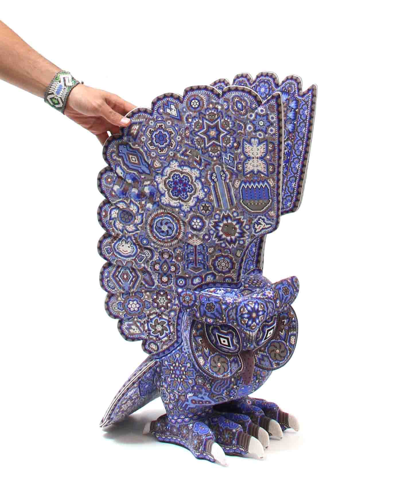 Copal wood sculpture in the shape of an owl in blue color bead beads