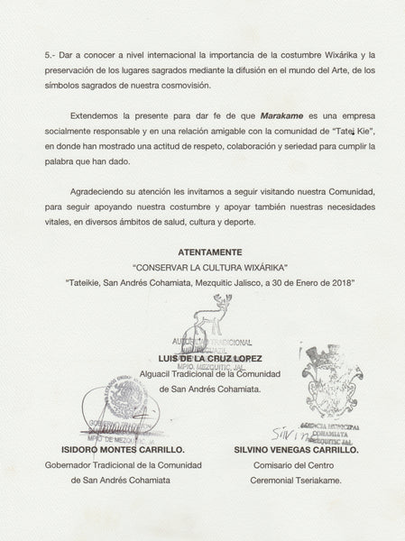 Official letter of thanks from the governor, sheriff and commissioners who are traditional authorities of the Huichols to Marakame - Arte Huichol for their contribution in infrastructure works