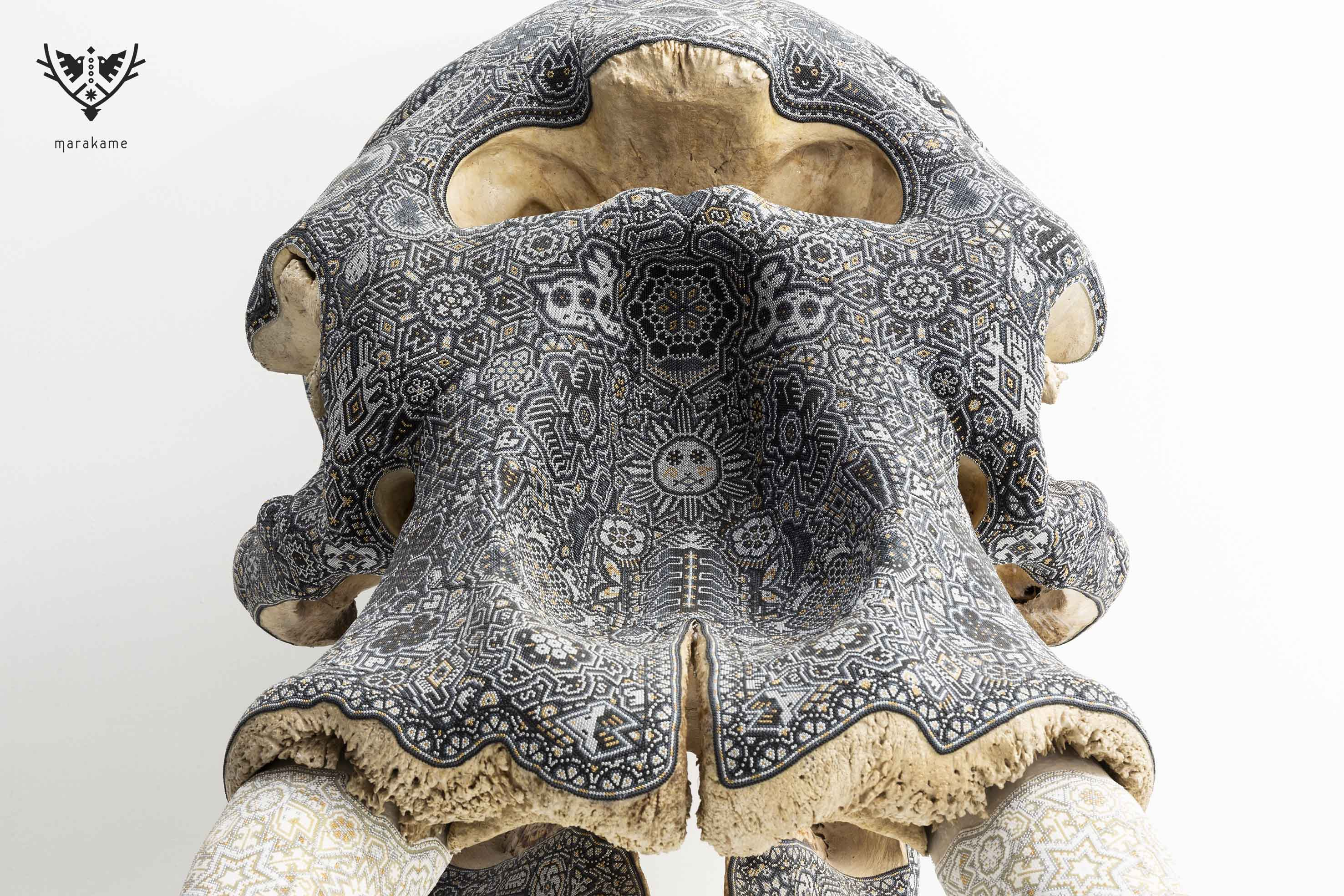 skull elephant intervened with crystal bead in epoxy glue, unique piece