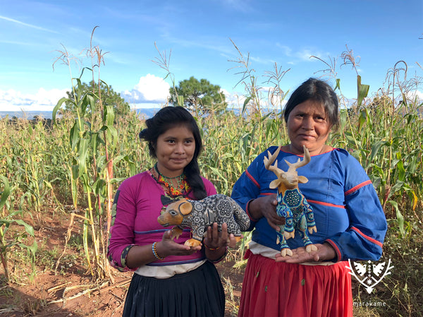 Two Huichol women with two sculptures, a bear and a deer in gray and blue colors, are in a corn field.
