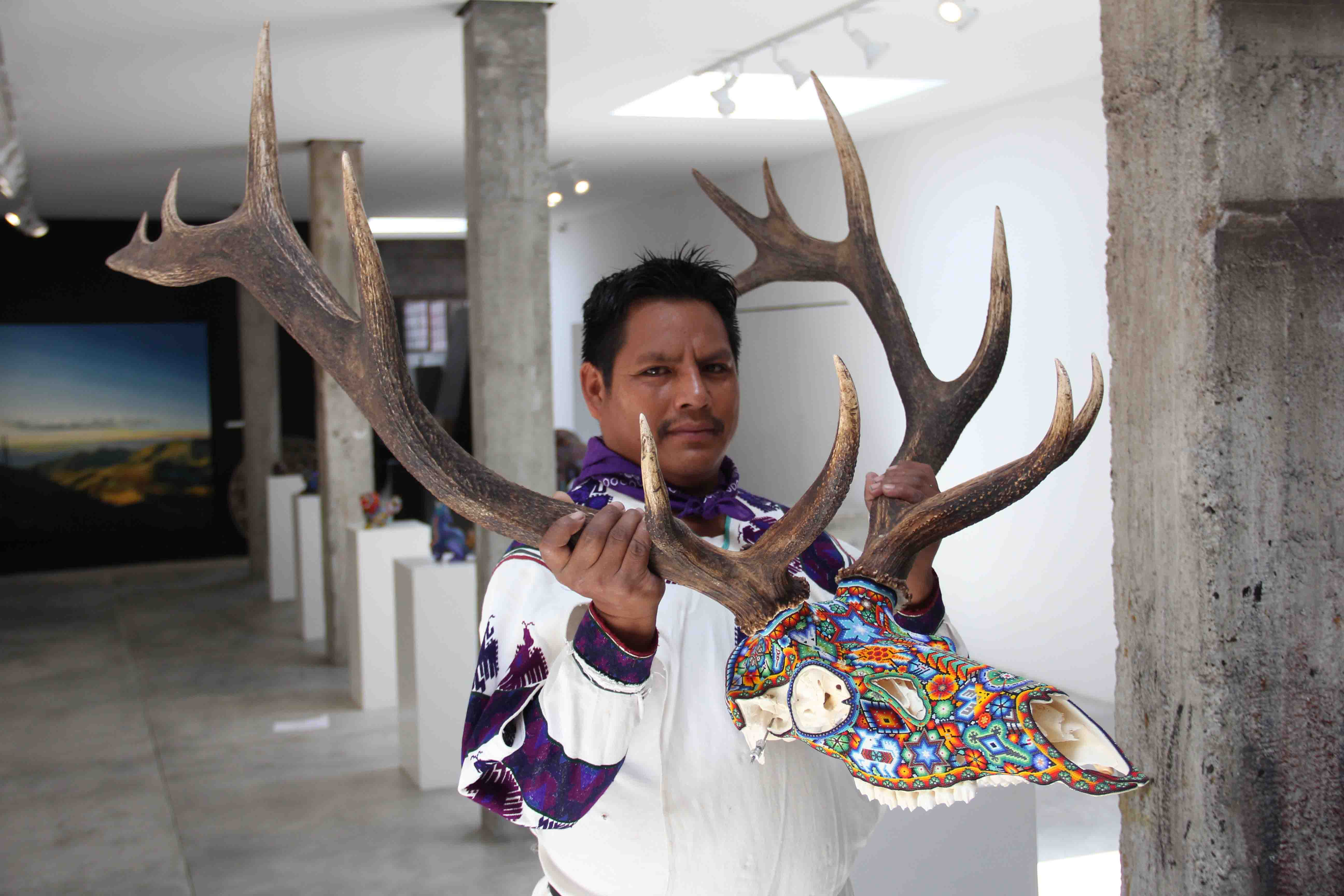 American Elk Deer Skull with ivory tooth in glass beads and Huichol art of traditional painting