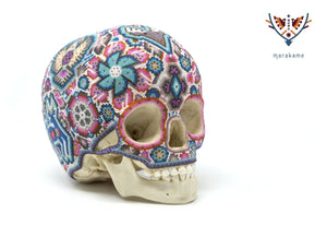 "Hyperrealistic Skull of Archaic Child from 6000 years ago ""Ik + Ri"" - Huichol Art - Marakame"
