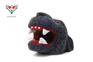 "Scultura copale - ""Medium Jaguar Head IX"" - Huichol Art - Marakame"