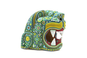 Huichol Art Sculpture Jaguar Head - Giant Maye - Huichol Art - Marakame