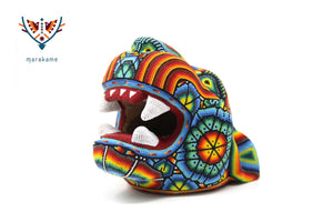 Copal Sculpture - Medium Jaguar Head I - Huichol Art - Marakame