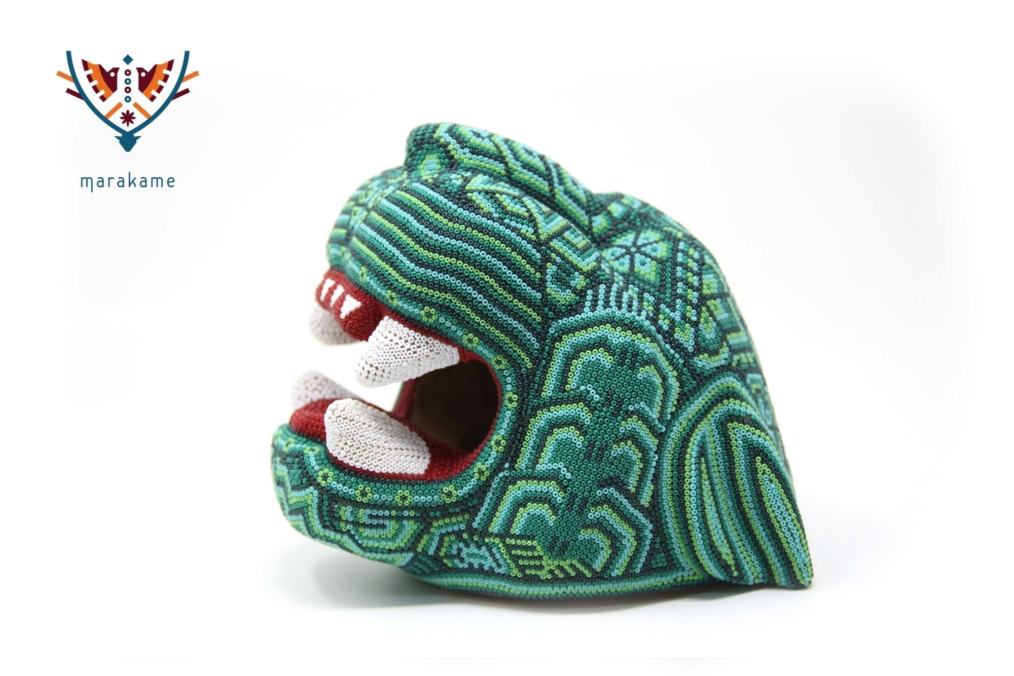 Copal sculpture - Medium Jaguar Head IV - Huichol Art - Marakame