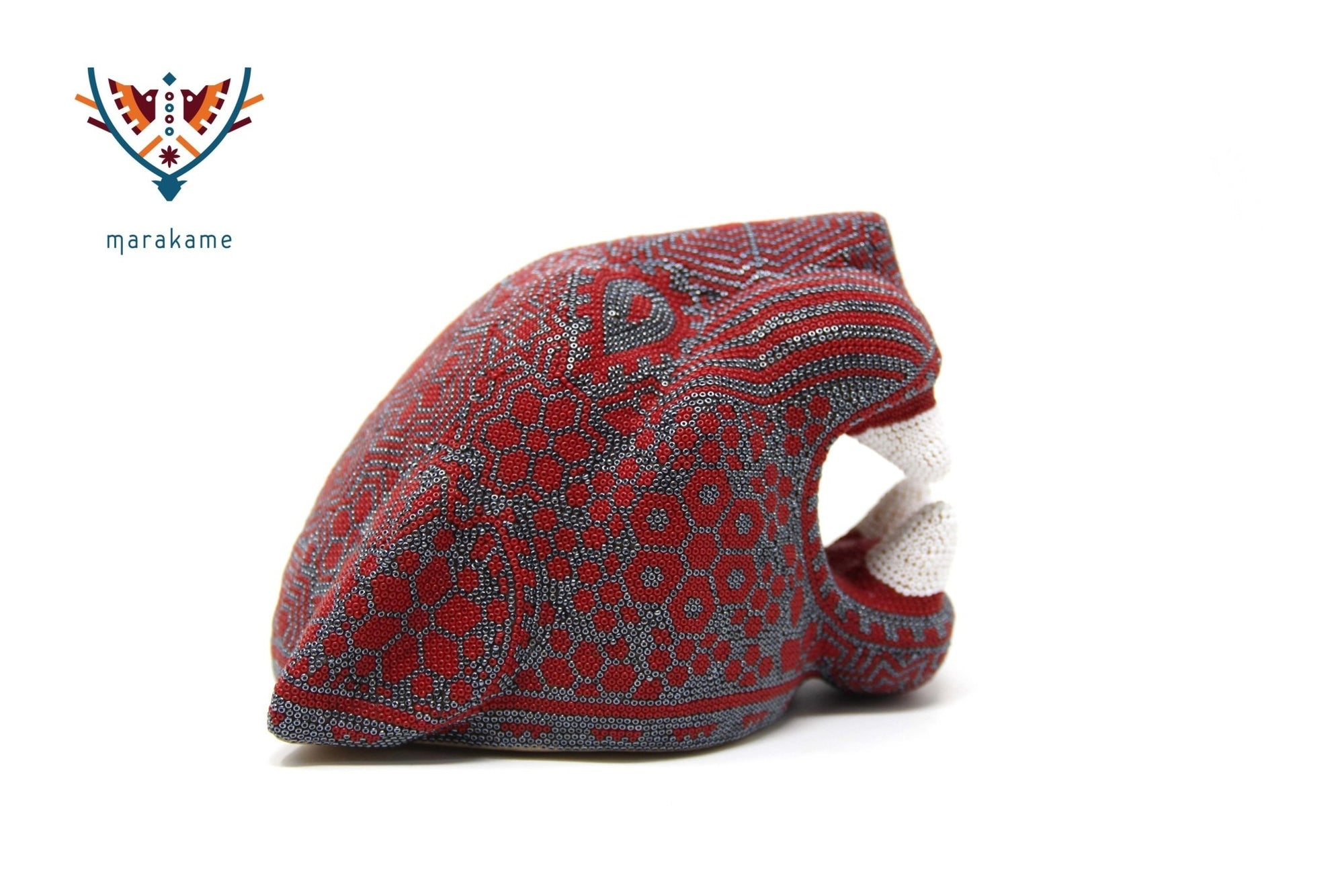 Copal Sculpture - Medium Jaguar Head VIII - Huichol Art - Marakame