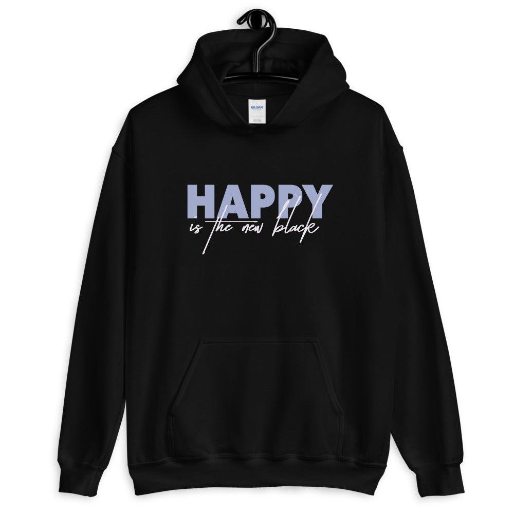 Happy is New Black Pullover Hooded Sweatshirt for Women