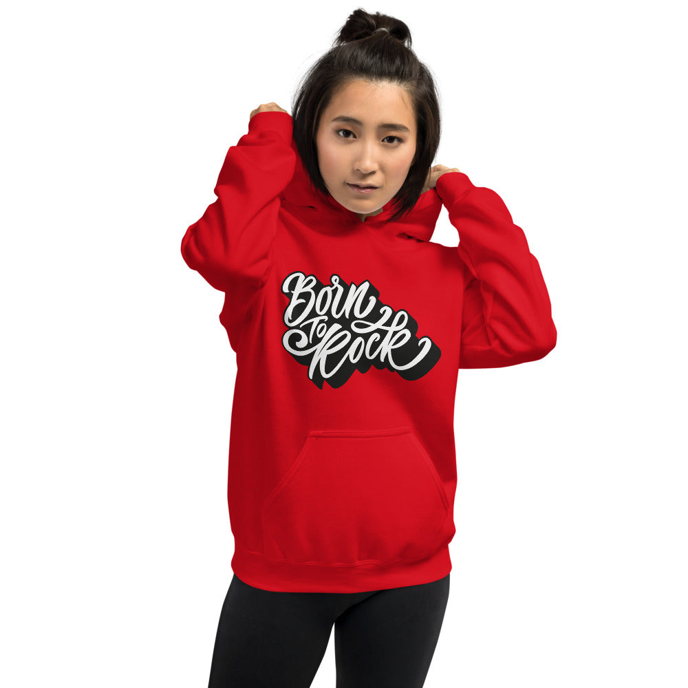 Born to Rock Hoodie | Red One Piece Born to Rock Pullover for Women