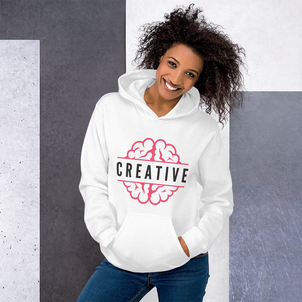 Creative Mind Hoodie | White One Piece Creative Pullover Hoodie for Women
