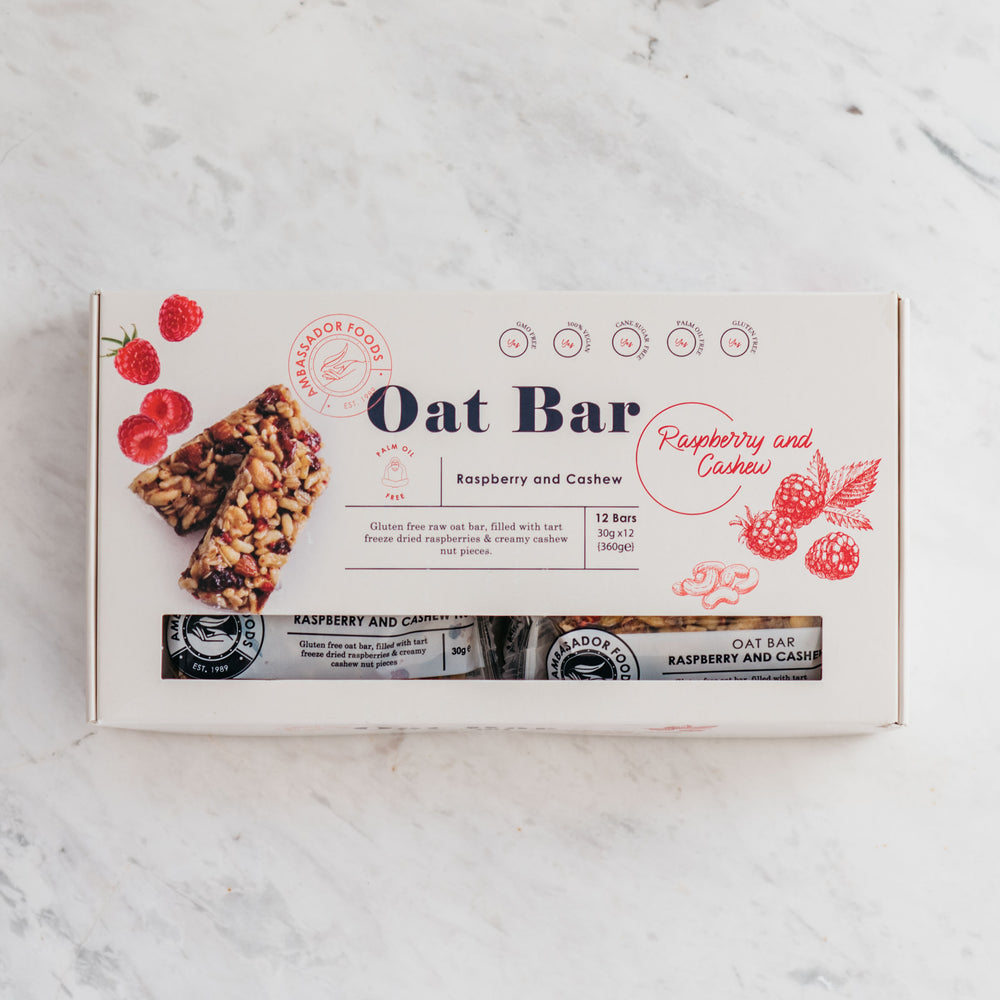 Load image into Gallery viewer, Raw Oat Bar – Raspberry and Cashew (12x Bars)