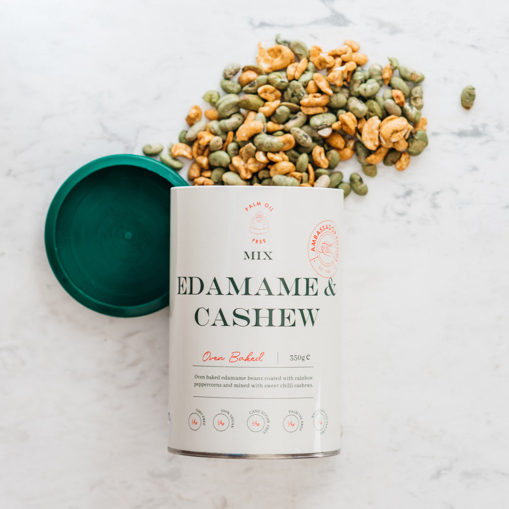 Sweet and Spicy Edamame and Cashew Mix